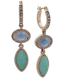 lonna & lilly Gold-Tone Pavé & Colored Stone Double Drop Hoop Earrings