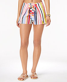 Bar III Bold Stripe Printed Tie-Waist Cover-Up Shorts, Created for Macy's