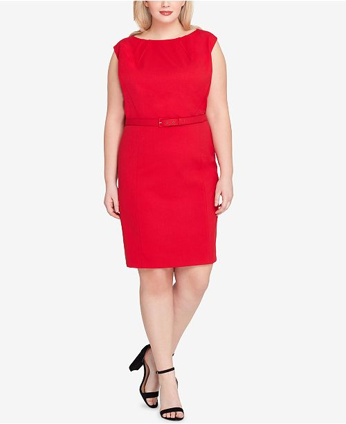 Tahari Asl Plus Size Belted Cap Sleeve Sheath Dress Dresses