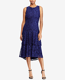 Lauren Ralph Lauren Floral-Lace Tiered Dress