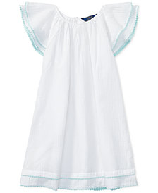 Polo Ralph Lauren Flutter-Sleeve Cotton Dress, Big Girls