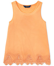 Polo Ralph Lauren Lace-Trim Tank Top, Big Girls