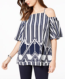 Alfani Petite Mixed-Print Cold-Shoulder Top, Created for Macy's