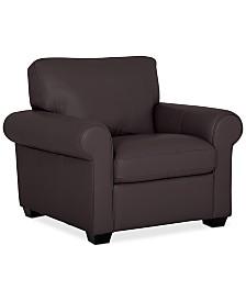 "Orid 36"" Leather Armchair, Created for Macy's"