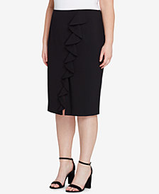 Tahari ASL Plus Size Asymmetrical-Ruffle Pencil Skirt