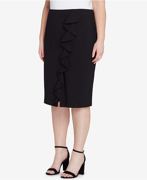 4b4347f826b Tahari ASL. Plus Size Asymmetrical-Ruffle Pencil Skirt. 2 reviews. main  image  main image ...