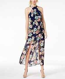 Crystal Doll Juniors' Printed Front-Slit Maxi Dress