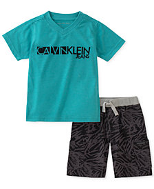 Calvin Klein 2-Pc. Graphic-Print T-Shirt & Shorts, Little Boys