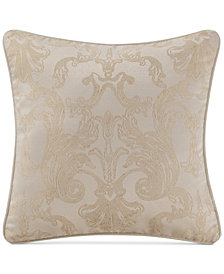 "Waterford Britt Reversible 18"" Square Damask Decorative Pillow"