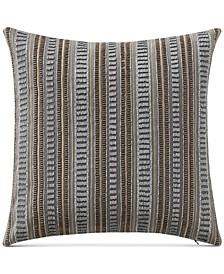 "Carrick 14"" Square Beaded Embroidered-Stripe Decorative Pillow"