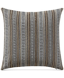 "Waterford Carrick 14"" Square Beaded Embroidered-Stripe Decorative Pillow"