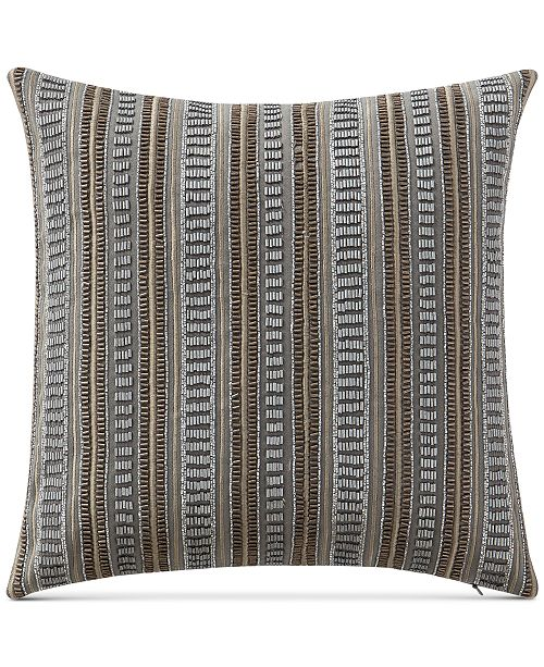 """Waterford Carrick 14"""" Square Beaded Embroidered-Stripe Decorative Pillow"""