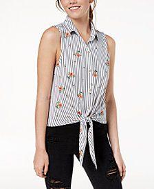 Polly & Esther Juniors' Printed Tie-Front Top