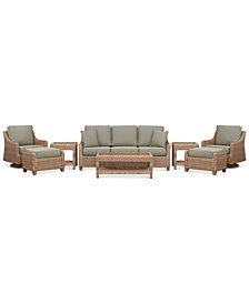Willough Wicker 8-Pc. Set (1 Sofa, 2 Swivel Gliders, 1 Coffee Table, 2 Ottomans & 2 End Tables) with Custom Sunbrella® Colors, Created For Macy's