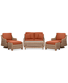 Willough Wicker Outdoor 6-Pc. Set (1 Loveseat, 2 Swivel Gliders, 1 Coffee Table & 2 Ottomans) with Custom Sunbrella® Colors, Created For Macy's