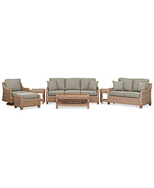 Willough Wicker Outdoor 7-Pc. Set (1 Sofa, 1 Loveseat, 1 Swivel Glider, 1 Coffee Table, 2 End Tables & 1 Ottoman) with Custom Sunbrella® Colors, Created For Macy's