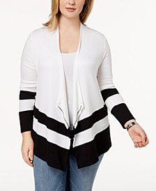 I.N.C. Plus Size Striped-Hem Cardigan, Created for Macy's