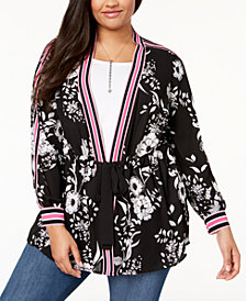 I.N.C. Plus Size Striped-Trim Kimono, Created for Macy's
