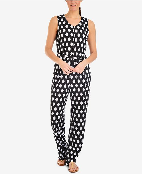 NY Collection Polka-Dot Tie-Waist Jumpsuit