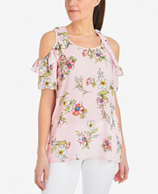 NY Collection Printed Cold-Shoulder Top