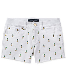 Tommy Hilfiger Glitter Pineapple-Print Shorts, Big Girls