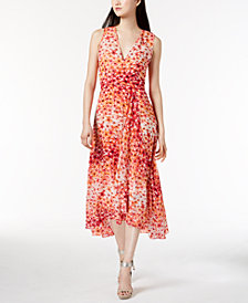 Calvin Klein Printed Chiffon Faux-Wrap Dress, Regular & Petite Sizes