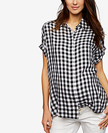 A Pea In The Pod Maternity Gingham Button-Front Blouse