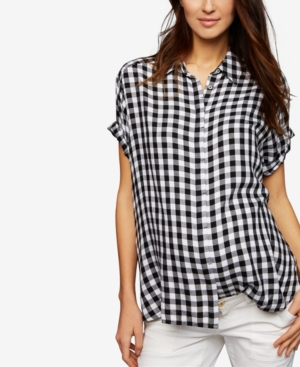 Vintage Style Maternity Clothes A Pea In The Pod Maternity Gingham Button-Front Blouse $68.00 AT vintagedancer.com