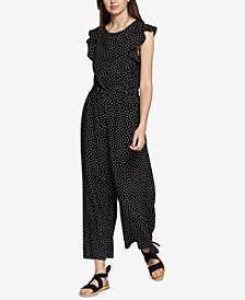 Sanctuary Antonella Flutter-Sleeve Polka-Dot Jumpsuit