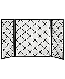 Three Panel Iron Fireplace Screen, Quick Ship