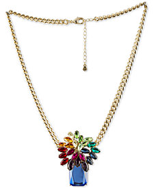 "RACHEL Rachel Roy Gold-Tone Multi-Stone Pendant Necklace, 18"" + 2"" extender"