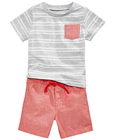 First Impressions Striped T-Shirt & Shorts, Baby Boys, Created for Macy's