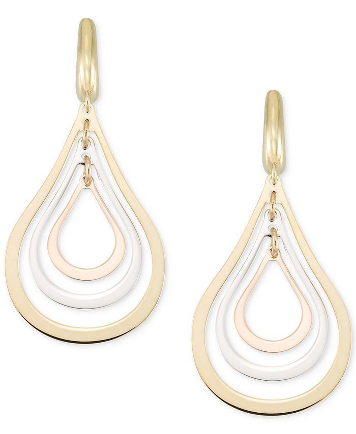 Italian Gold - Tri-Colour Orbital Teardrop Drop Earrings in 14k Gold, White Gold & Rose Gold