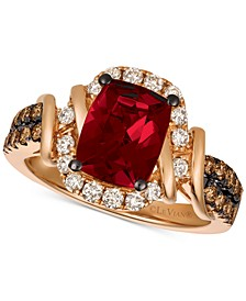 Chocolate & Nude™ Raspberry Rhodolite® (1-9/10 ct. t.w.) & Diamond (5/8 ct. t.w.) Ring in 14k Rose Gold