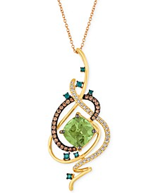 "Exotics® Crazy Collection® Mint Julep Quartz™ (3-1/4 ct. t.w.) & Diamond (3/4 ct. t.w.) 18"" Pendant Necklace in 14k Gold"