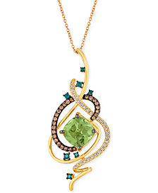 "Le Vian Exotics® Crazy Collection® Mint Julep Quartz™ (3-1/4 ct. t.w.) & Diamond (3/4 ct. t.w.) 18"" Pendant Necklace in 14k Gold"