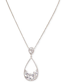 "Nina Silver-Tone Crystal Open Teardrop Pendant Necklace, 17"" + 3"" extender"