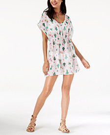 Miken Juniors' Cactus-Print V-Neck Cover-Up