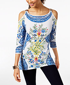 JM Collection Cold-Shoulder Hardware Tunic, Created for Macy's
