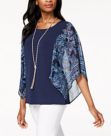 JM Collection Petite Printed-Sleeve Poncho Necklace Top, Created for Macy's