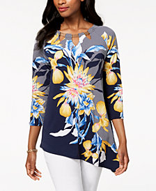 JM Collection Petite Floral-Print Asymmetrical Top, Created for Macy's