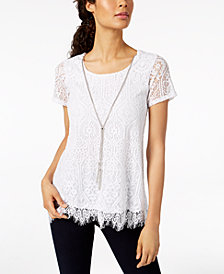 JM Collection Lace Necklace Top, Created for Macy's