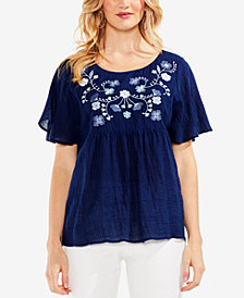 Vince Camuto Embroidered Peasant Top