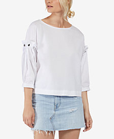 Avec Les Filles Dramatic-Sleeve Button-Detail Woven Top