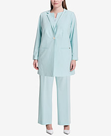Calvin Klein Plus Size Topper Jacket & Straight-Leg Pants