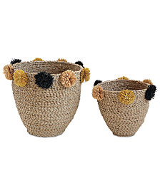 Natural Seagrass Baskets with Yellow & Black Pom Poms, Set of 2