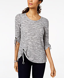Style & Co Petite Grommet-Tie Top, Created for Macy's