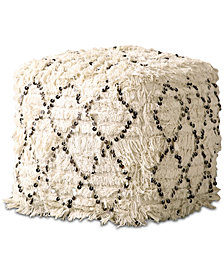 Moroccan Wedding Quilt Pouf with Sequins & Fringe