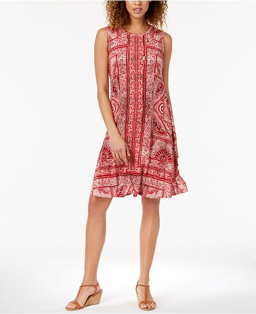 Style Co Petite Printed Swing Dress Created For Macys Dresses