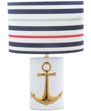 Image of Ceramic Table Lamp with Striped Linen Shade
